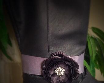 Boot Bling - Black flower