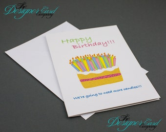 Cake Candles Humour Happy Birthday Card - Happy Birthday Greeting Card