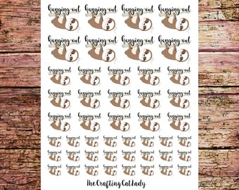 Hanging Out Sloth Planner Stickers