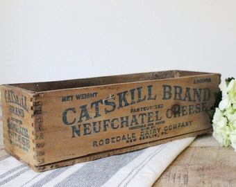 Vintage Wooden Cheese Box / Antique Wood Box