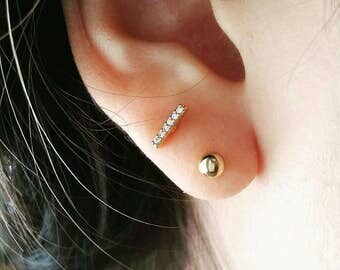 CZ Tiny Bar Earring, bar cartilage earring, simple helix sparkling piercing, tragus stud earring, line cartilage earring gold bar earring CZ