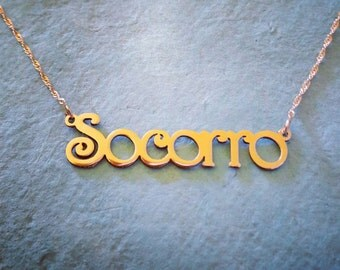 Gold Name Necklace - 14k Solid Gold Personalized Any Name Nameplate Necklace - Initial necklace - Customized Gold Name Necklace - Pure Gold