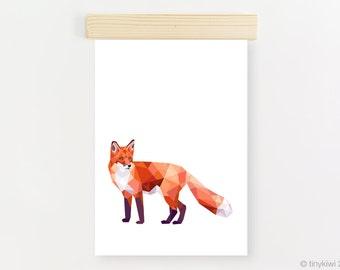 Fox print, Instant download printable art, Geometric fox printable, Woodland animals, Nursery forest animals, Fox art, Red fox, tinykiwi