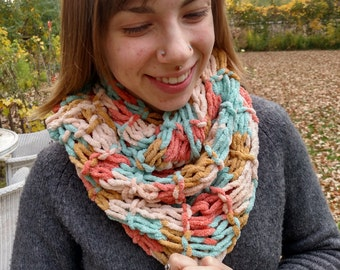 Chunky Patchwork Infinity Scarf