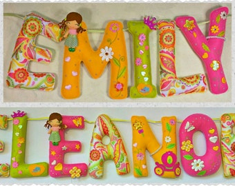 Flowers Theme Name Birthday Banner, Personalized Felt Name Garland/Bunting, Birthday Party Room Wall Decoration