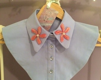Baby blue Collar With Pink Flowers