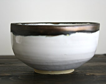 Wheel Thrown Stoneware Pottery Matcha Chawan.  Japanese Tea Bowl.  Matcha Bowl. White and Bronze glaze.  Turned to Stone Design