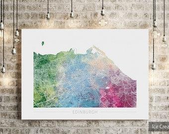 Edinburgh Map - City Street Map of Edinburgh Scotland - Art Print Watercolor Illustration Wall Art Home Decor Gift  Embossed PRINT