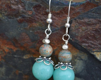 Handmade Sterling Silver Earrings with Amozonite and Blue Sky Jasper Beads