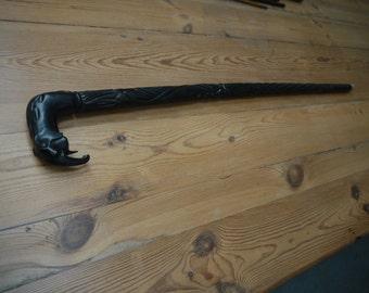 Vintage Antique Walking Stick Ebony Cane. Black elephant head