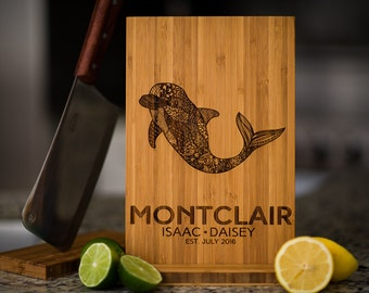 Personalized Cutting Board Wedding Dolphin Anniversary Family Name Engraved Monogram Initials Chef Kitchen Decor Chopping