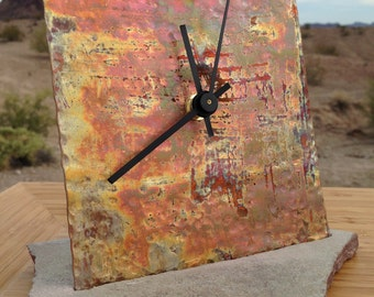 TEXTURED COPPER Clock - unique wedding housewarming gift Arizona flagstone industrial anniverasary office boss decor birthday free shipping