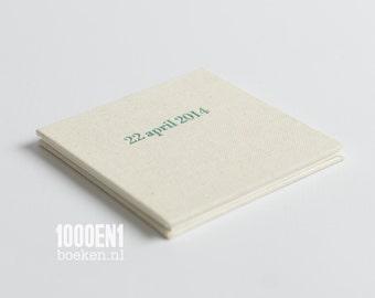 Concertina, Accordion album, NATUREL LINEN,  personalized with letterpress (wedding date, birth date, name, names, wedding venue...)