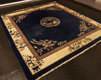 """Antique Chinese Peking carpet, Natural dyes with fine silky wool, Has wear, size: 9'.1"""" x 9'.10"""""""
