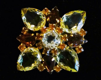 Vintage DeLizza and Elster Juliana Yellow and Amber Rhinestone Brooch