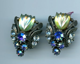 Vintage Signed Florenza Fruit Salad Molded Glass Green Blue Rhinestone Clip Earrings