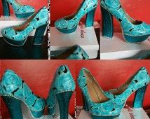 Cinderella Shoes Prom Wedding Bling Disney Goth Punk Blue Roses Platform Heels Custom made Cosplay stripper Fetish Ladies Glitter Sparkle