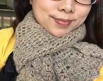 cream colored crochet scarf