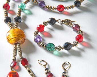 Golden Murano and Facetted Glass Set: Necklace, Bracelet, Earrings