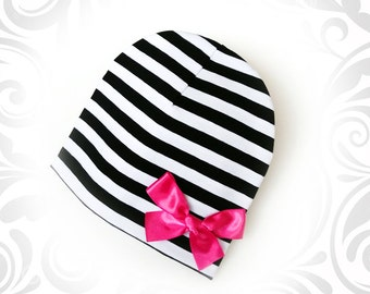 Cute slouchy hat with bow for girls/women