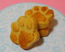 Peanut Butter Paw Print Cake Dog Treats. Soft Peanut Butter Thanksgiving / Christmas Gift. Soft Dog Treat Cakes. Paws on my Heart Dog Muffin