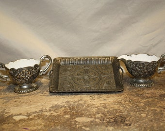 Metal Creamer and Sugar Bowl with Tray