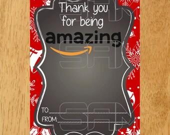 Amazon Gift Card Holder Tag Christmas Printable
