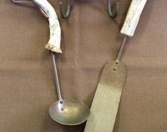 Vintage Copper&Antler Scandinavian Hammered Utensils With Hanging Bracket