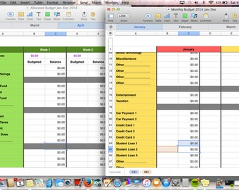 BUNDLE 2016 Weekly and Monthly Editable Downloadable Spreadsheet Budget