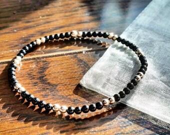 3mm Sterling Silver and Genuine Onyx Bracelet