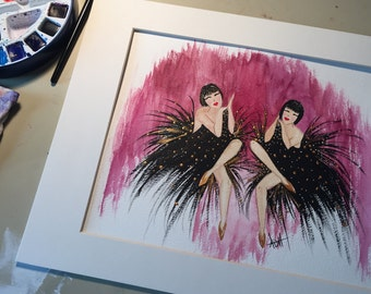 ORIGINAL watercolor painting- The Dolly Sisters