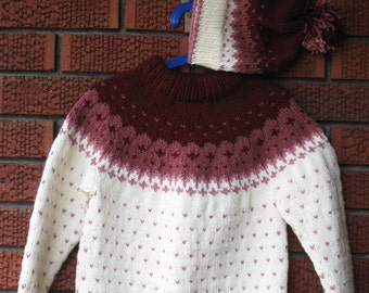 Size 6 -8 Knitted Fair Isle  Pullover and Hat