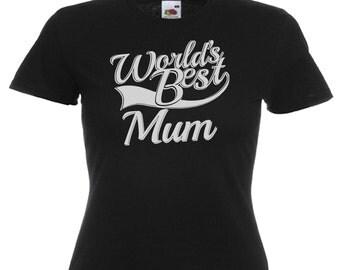 World's Best Mum Gift Ladies Women's Black T Shirt Sizes From UK size 6 - UK size 16