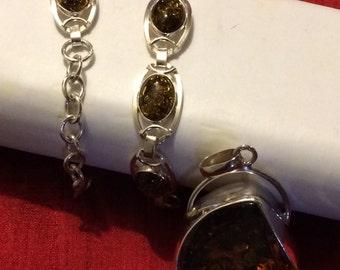 925 Silver Jewelry, Smokey Quartz and Silver pendant and Bracelet
