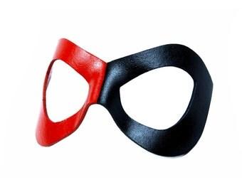 Leather Mask - Hero / Heroine Style - Harley Quinn Mask - Red & Black
