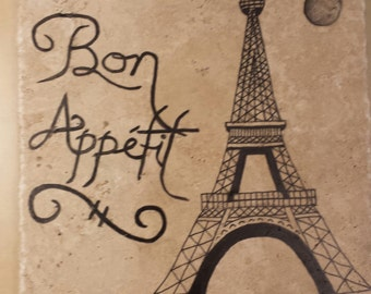 "Ceramic Tile  - 8"" x 8"" ""Bon Appetit"" Eiffel Tower and the Moon - Great for Kitchen - with display stand"