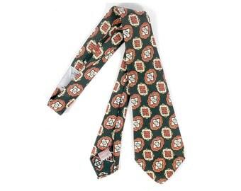 Vintage 50s Tie - 50s Necktie - 50s Paisley Tie - Green Orange White  - Superba Tie - 50s Cravat - 50s Preppy Tie - Rockabilly - NOS - NWT