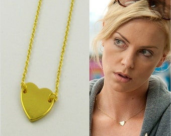 Gold Heart Necklace / Charlize Theron Necklace / 18k Gold Filled