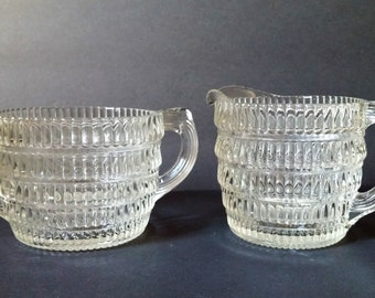Hazel Atlas Mid Century Beehive Pattern Sugar and Creamer