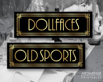 Gatsby Theme Dollfaces and Old Sports Printable Signs, Gatsby Wedding, Roaring Twenties, Art Deco Party Supplies - Black and Gold - ADBG1