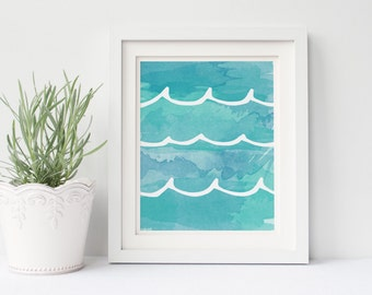 Watercolor Waves Print, Printable Art, Home Decor, Poster, Instant Download