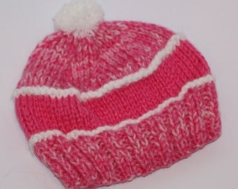 Baby Hot Pink Knitted Cap Baby Girl
