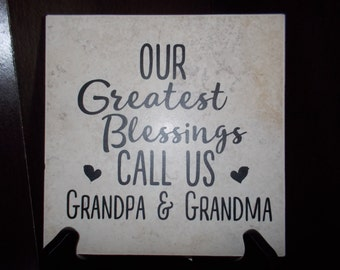 Our greatest blessing Grandparents tile vinyl decal