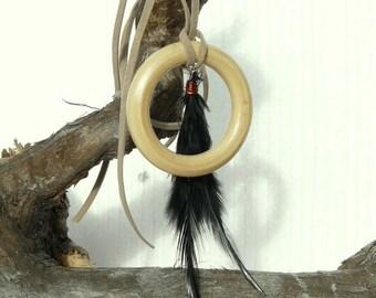Boho necklace//Feather necklace//Long necklace//Hippie necklace//Statement necklace