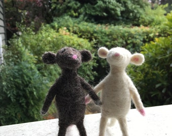 Mouse Friends, Felted Mice, Children's Toy, Unique Home Decor