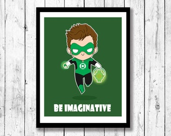 Green Lantern Inspired Art Print- Justice League, Hal Jordan, Mini-Motivational