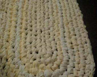 Crochet Rag Rug YELLOW oval