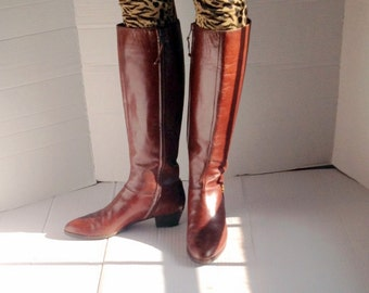 sz 7 aa FERRAGAMO vintage brown italian leather boots made in ITALY