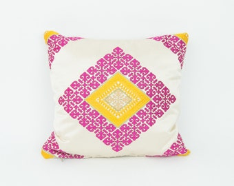 moroccan pillow cover - Cushion Cover, Chenille pillow Pink, white Boho pillow, silk pillow, throw accent decorative pillow