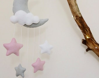 Cloudy moon and stars decor/baby mobile